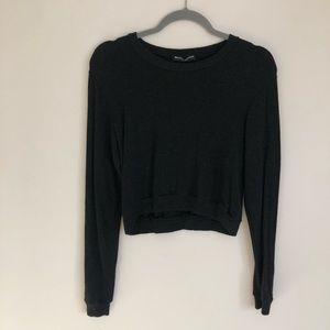 Brandy Melville Charcoal Gray Cropped Sweater